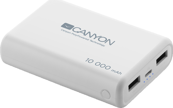 Портативный аккумулятор CANYON Power bank 10000mAh Li-poly battery, Input 5V/2.1A, Output 5V/2.1A(Ma