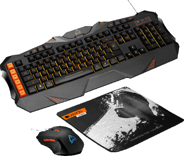 Проводной комплект Canyon Leonof GS-1 3in1 Gaming set, Keyboard with lighting effect(118 keys), Mous