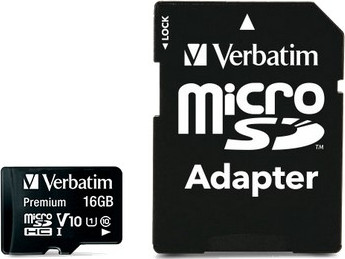 Micro Secure Digital 16GB Verbatim (44082) SDHC (Class 10) + adapter