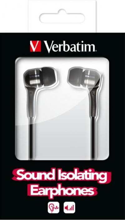 Наушники VERBATIM Sound Isolating Earphones Black Volume Control (excl. Microphone)