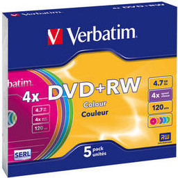 Матрица DVD+RW 4.7Gb Verbatim 4X Slim Case (5) COLOR (43297)