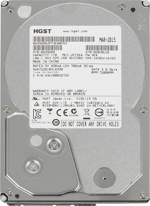 Жесткий диск 1000Gb (1TB) HITACHI (HGST) 7200rpm 32Mb SATA2 (3Gb/s) (HUA722010CLA330)