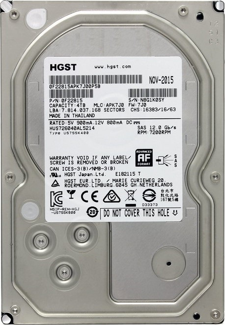 Жесткий диск 3.5 4000Gb HGST Ultrastar 7K6000 7200rpm 128Mb (12Gb/s) SAS2.0