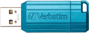 USB Flash Drive 32GB Verbatim (PinStripe CARIBBEAN BLUE) USB2.0 (49057)