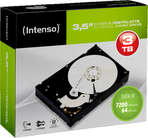 Жесткий диск 3000Gb (3TB) INTENSO 7200rpm 64Mb SATA3 (6Gb/s) Retail