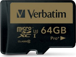 Micro Secure Digital 64GB Verbatim (44034) SDXC PRO+(Class 10) + adapter UHS-III