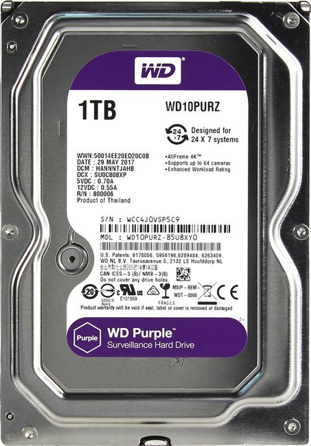 Жесткий диск 1000Gb (1TB) WD Caviar Purple 64Mb SATA3 (6GB/s) HDD для СВН (WD10PURZ)