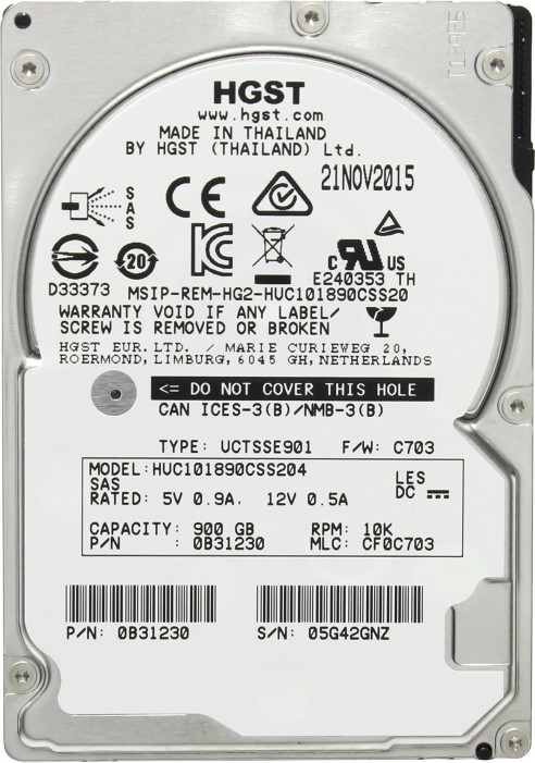 Жесткий диск 2.5  900Gb HGST Ultrastar C10K1800 10520 rpm 128Mb SAS2.0
