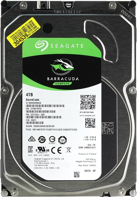 Жесткий диск 4000Gb (4TB) Seagate Barracuda 256Mb SATA3 (6Gb/s) (ST4000DM004)