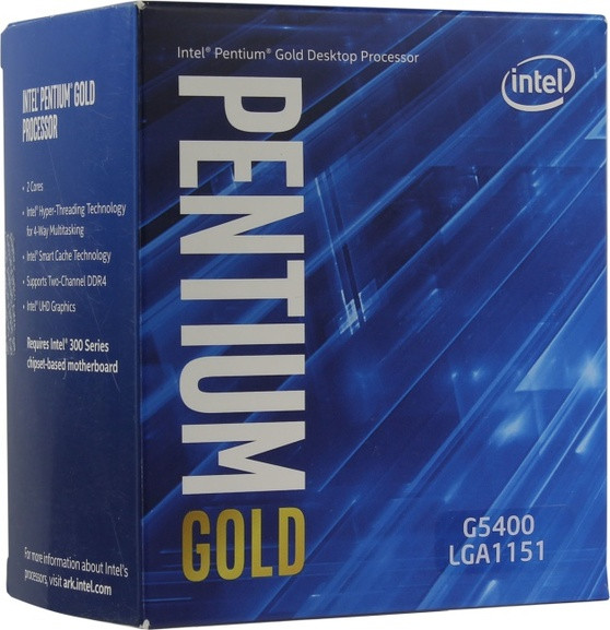 LGA1151v2 Intel  Pentium Gold G5400 (Gen.8) (2 Core 3.70 Ghz 4M, DDR4) BOX