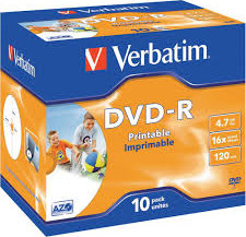 Матрица DVD-R 4.7Gb Verbatim 16X Jewel Case (10) AZO WIDE PRINTABLE (43521)