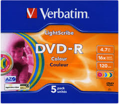 Матрица DVD-R 4.7Gb Verbatim 16X Slim Case (5) AZO LIGHTSCRIBE COLOUR (43674)