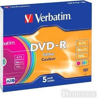 Матрица DVD-R 4.7Gb  Verbatim 16X Slim Case (5) AZO COLOUR (43557)