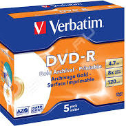 Матрица DVD-R 4.7Gb Verbatim 8X Jewel Case (5) ARCHIVAL GOLD PHOTO PRINTABLE  HARD COAT (43638)
