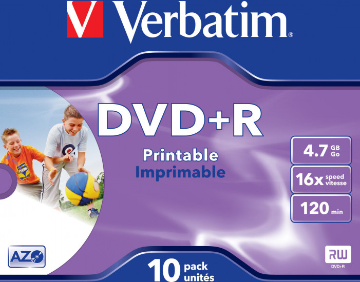 Матрица DVD+R 4.7Gb Verbatim 16X Jewel Case (10) AZO WIDE PRINTABLE (43508)