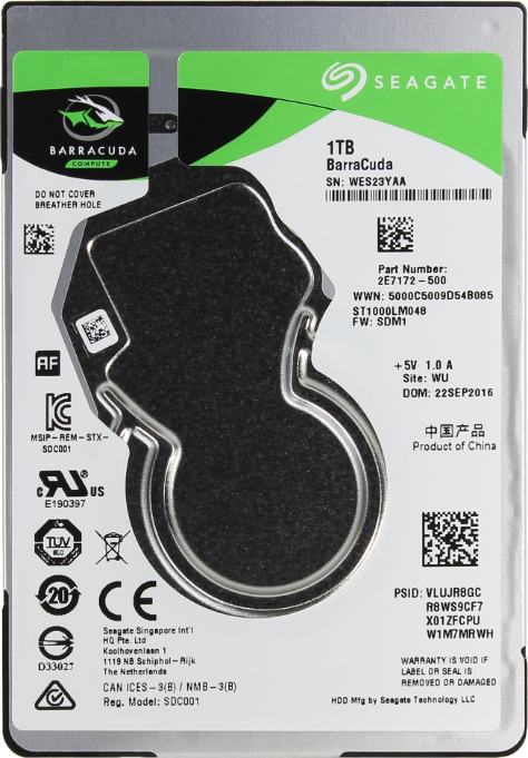 Жесткий диск 2.5 1000 GB Seagate BarraCuda Mobile (128Mb 5400rpm) SATA3 (6Gb/s) (ST1000LM048)