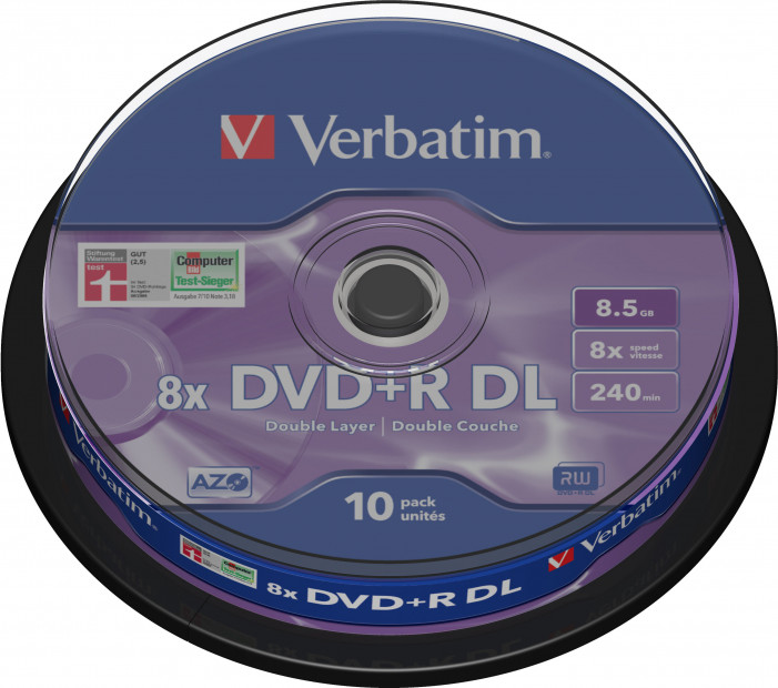 Матрица DVD+R DL 8.5Gb Verbatim 8X Cake Box (10) MATT SILVER (43666)