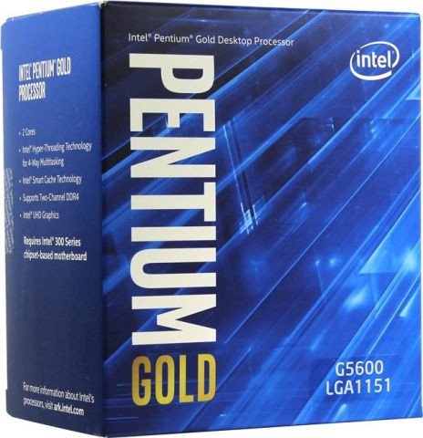 LGA1151v2 Intel  Pentium Gold G5600 (Gen.8) (2 Core 3.90 Ghz 4M, DDR4) BOX