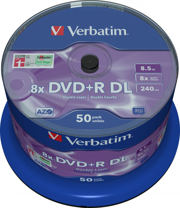 Матрица DVD+R DL 8.5Gb Verbatim 8X Cake Box (50) MATT SILVER (43758)