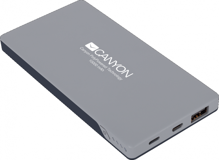 Портативный аккумулятор CANYON Power bank 10000mAh (Color: Dark Gray), bulit in Lithium Polymer Batt