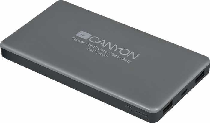 Портативный аккумулятор CANYON Power bank 15000mAh, bulit in Lithium Polymer Battery, with smart IC,