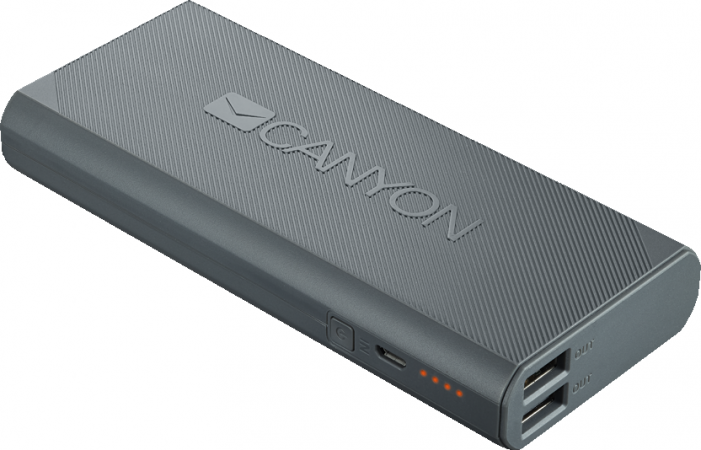 Портативный аккумулятор CANYON Power bank 10000mAh built-in Lithium-ion battery, max output 5V2.4A,