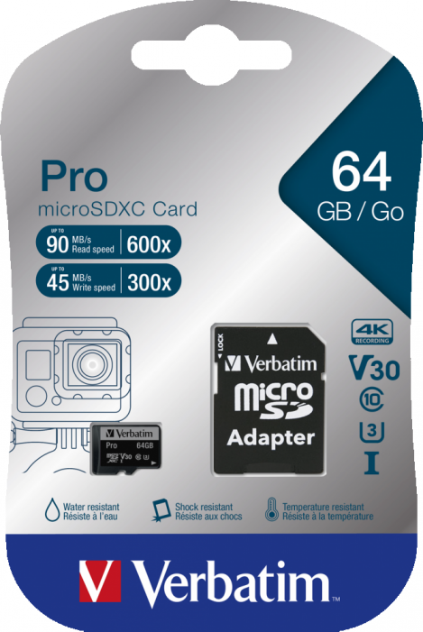 Micro Secure Digital 64GB Verbatim (47042) SDXC (Class 10) + adapter UHS Speed Class 3 (U3)