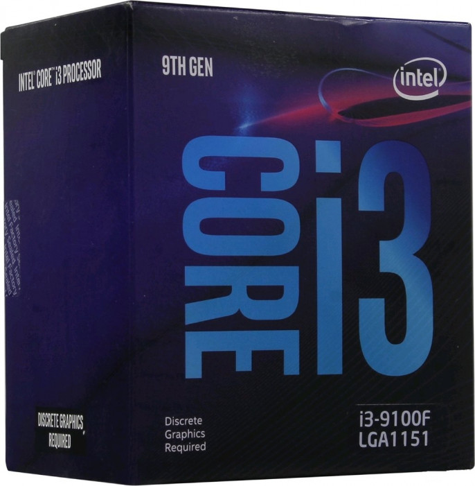 LGA1151v2 Intel Core i3-9100F (Gen.9) (3.60 Ghz 6M, DDR4) BOX. Видео - НЕТ