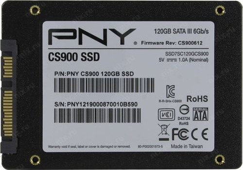 "Диск SSD2.5"" 120Gb PNY CS900 Series SATA3 (6Gb/s) ( SSD7CS900-120-PB )"