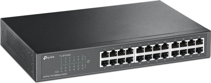 Коммутатор TP-LINK TL-SF1024D 24-port 10/100M Switch, 24 10/100M RJ45 ports, 1U 19-inch rack