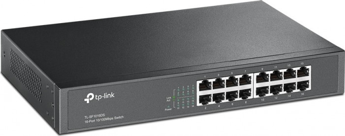 Коммутатор TP-LINK TL-SF1016DS 16-port 10/100M Switch, 16 10/100M RJ45 ports, 1U 13-inch rack-mounta