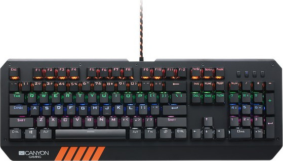 Клавиатура CANYON Wired multimedia gaming keyboard with lighting effect, 108pcs rainbow LED