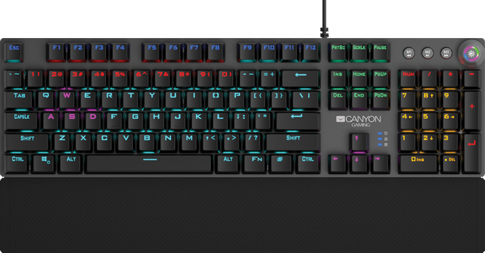 Клавиатура CANYON Wired Gaming Keyboard,Black 104 mechanical switches,60 million times key life, 22