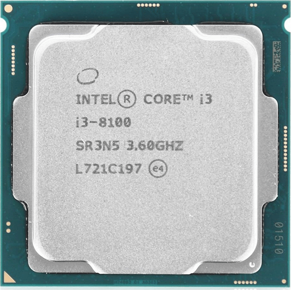 LGA1151v2 Intel Core i3-8100 (Gen.8) (3.60 Ghz 6M, DDR4) OEM. Кулера - НЕТ.