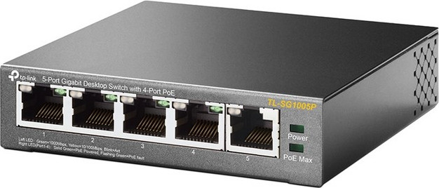 Коммутатор TP-LINK TL-SG1005P 5-port Desktop Gigabit Switch, 4 ports POE