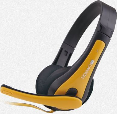 Гарнитура CANYON entry price PC headset, combined 3,5 plug, leather pads, Black-yellow
